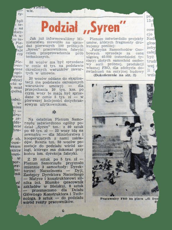 Podział Syrena - Gazeta Fakty FSO z 1957 roku