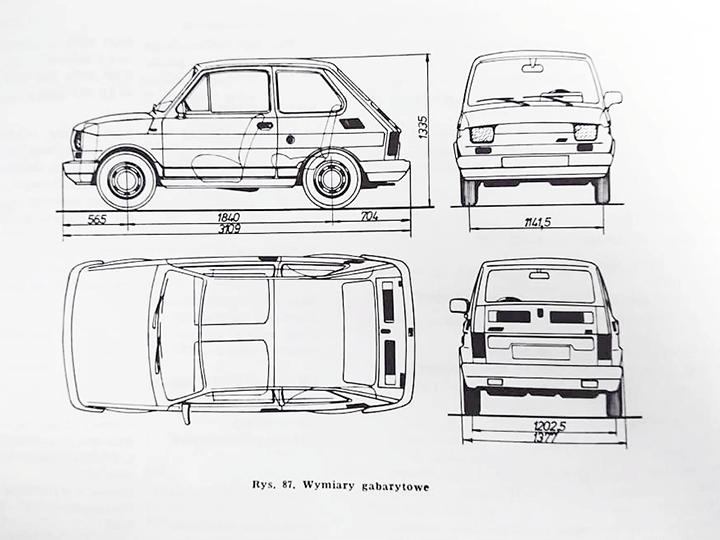 Polski Fiat 126p - Maluch - wymiary
