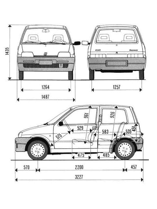 Fiat Cinquecento - wymiary