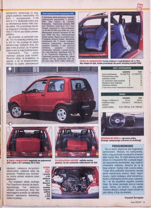 Auto Świat - pierwszy artykuł i pierwsze zdjęcia Daewoo Tico
